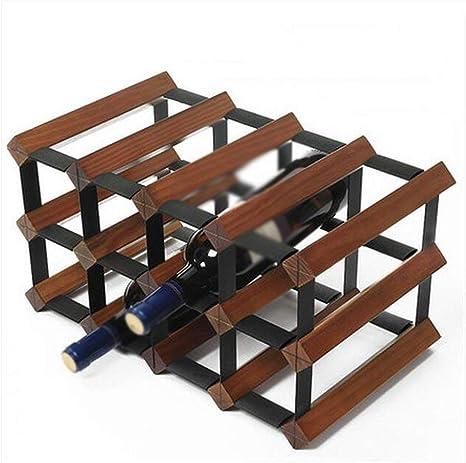 XQY Rack para vinos, Rack para restaurantes, Rack para vinos Decorativo, Racks para vinos Color de Registro Vino Tinto Blanco Color Antiguo Woody 12 Botellas Sencillo y Elegante Gabinete para vinos p: