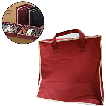 OUNONA Bolsa Porta Zapatos de Viaje y casa de Tela con Compartimentos de Vino Rojo: Amazon.es: Hogar