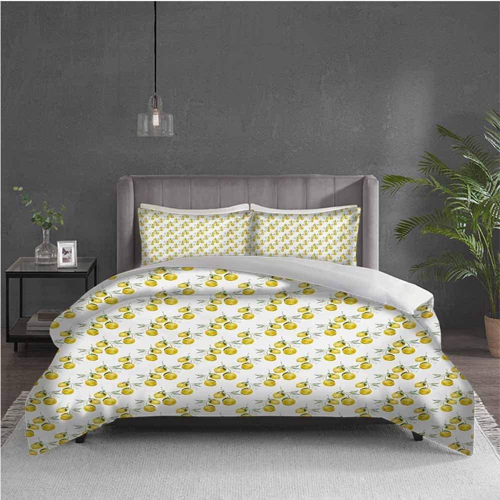 GUUVOR Nature Pure Bedding Hotel Luxury Bed Linen Lemon Tree Branches Agriculture Kitchen Lemonade Citrus Figure Graphic Art Polyester - Soft and Breathable (Full) Olive Green Yellow