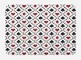 Ambesonne Casino Bath Mat, Poker Cards Advertising Holidays Getaways Tourist Destinations Pleasure Art Print, Plush Bathroom Decor Mat with Non Slip Backing, 29.5 W X 17.5 W Inches, Red Black