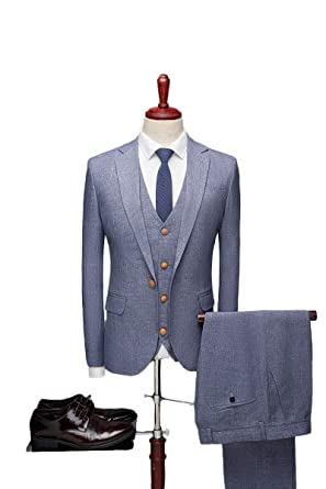 Amazon.com: LIBODU - Traje de hombre de 3 piezas (chaqueta + ...