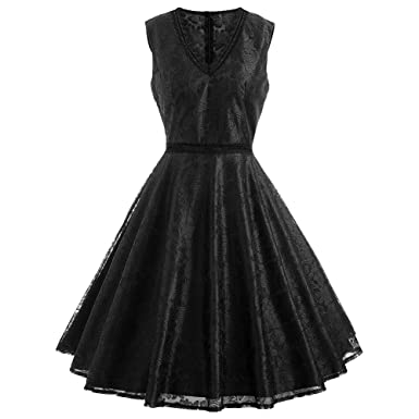 5074039f9e9 RoseGal Women A Line Lace Overlay Vintage Dress Cocktail Fit and Flare Swing  Skirt