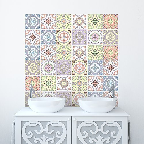 Traditional Tile Stickers Transfers for Kitchen, Bathroom and Furniture DIY (Pack of 20, Pastels)