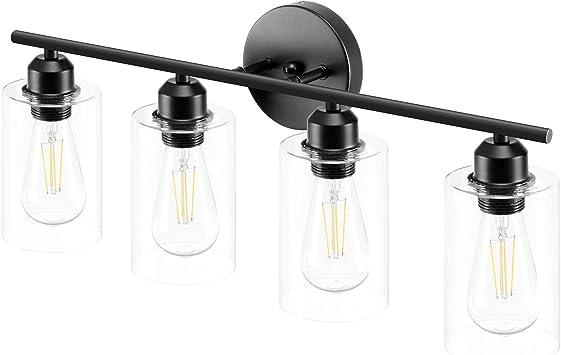 Espird 4 Light Bathroom Vanity Light Fixtures Black,Rustic Farmhouse Vanity Lighting Over Mirror Modern Industrial Lamp with Cylinder Glass Shade