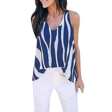b64e79366d63f1 Mose Sleeveless Stripe Blouse for Women Fashion Lady Cold Shoulder Summer V  Neck Sleeveless Striped Vest