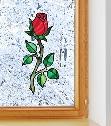 Rosebud on Long Stem - Rose - Stained Glass Style - See-Through Vinyl Window Decal - Copyright 2016 YYDC (MED 3
