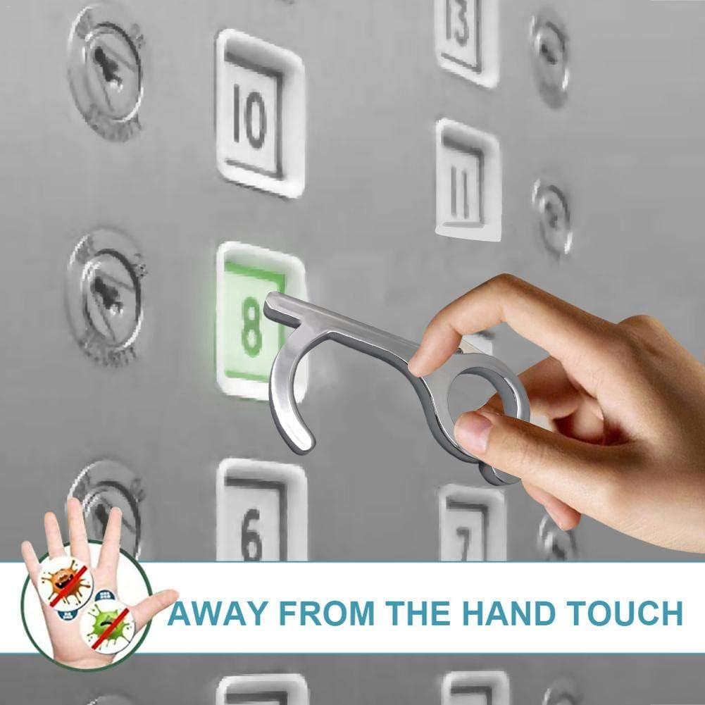 Yunhigh Handheld Door Opener Easy to Carry 2pcs No Touch EDC Door Opener /& Stylus Keychain Tool Keep Hands Clean