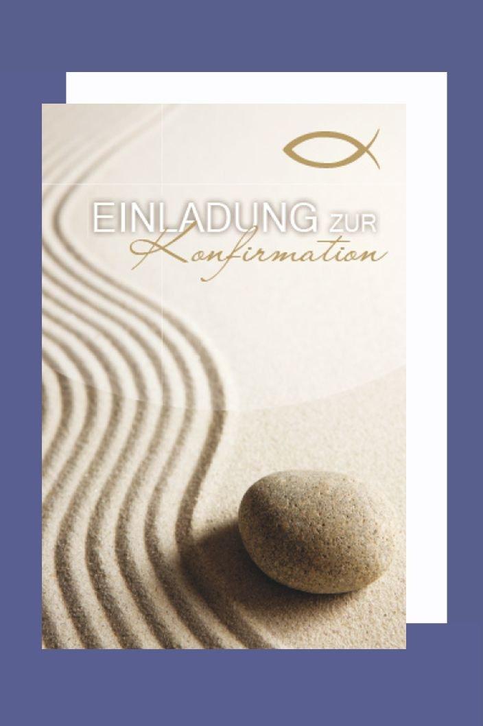Konfirmation Einladungen Karte 5er Set Wellen Sand Stein B6