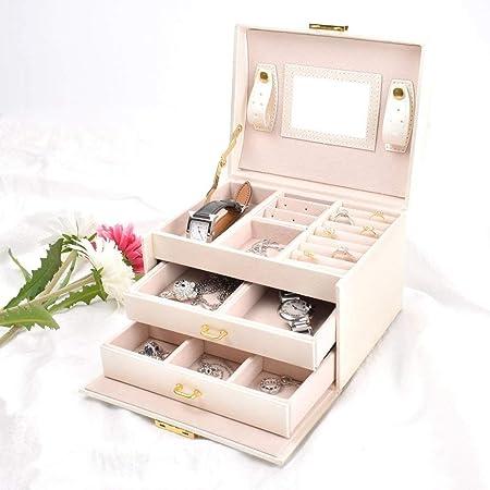 MMFHG Joyero Joyero Estuche/Cajas/Estuche De Maquillaje, Estuche De Belleza para Joyas Y Cosméticos con 2 Cajones 3 Capas: Amazon.es: Hogar