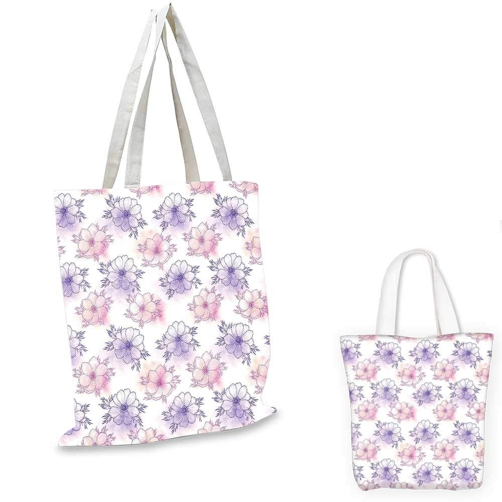 12x15-10 Anemone Flower canvas messenger bag Group of Graphic Colorful Flowers on Branches Blooming Field in Summer Theme emporium shopping bag Multicolor