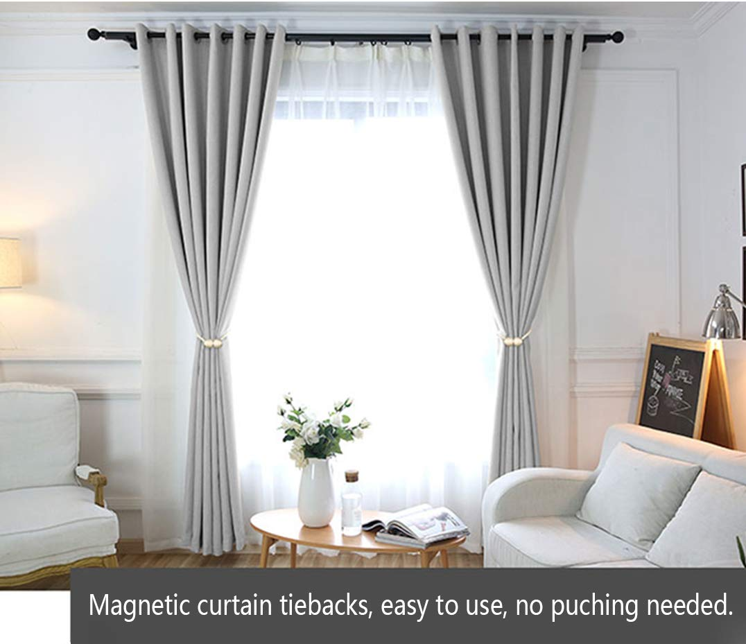 HILELIFE Magnetic Curtain Tiebacks Clips - Window Tie Backs Holders for Home Office Decorative Rope Holdbacks Classic Tiebacks Design, 1 Pair (Brown) - Suitable for all curtains: our curtain tiebacks whole length is 18 inches, Perfect suitable for all sheer curtains and thick blackout curtains. In your living rooms, bedrooms, bathrooms, dinning rooms, offices and studios. Stronger magnetic attraction: these magnetic curtain tiebacks with upgraded strong magnets, nickel-plated, smooth, rust-proof, stable curtain holder and protect your draperies. Most Convenient curtain tie backs: tie back for curtains in seconds, no tools required and hold stably, no longer worry about slipping, there are multiple curtain clip ways could show different styles for your curtains. - living-room-decor, living-room, home-decor - 6166rU32LkL -