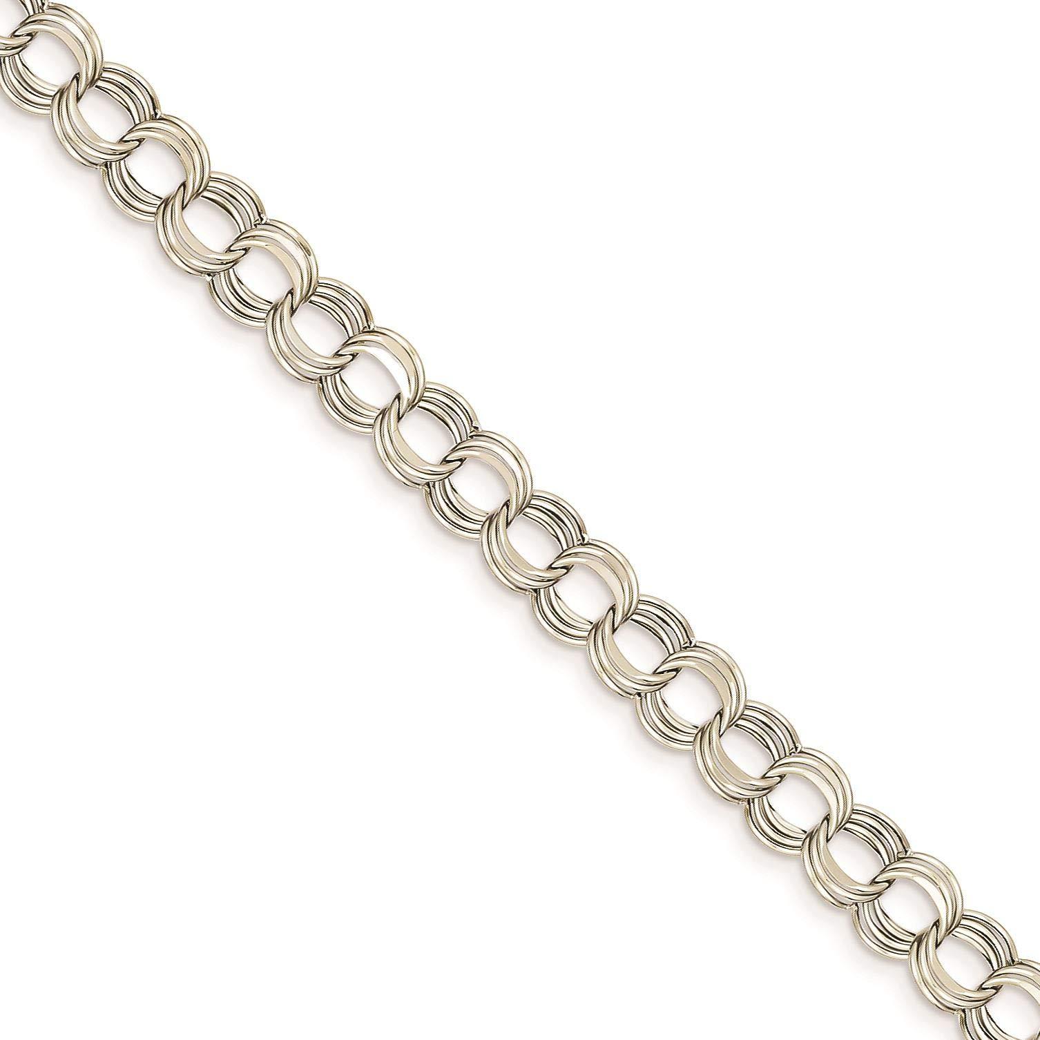 14K White Gold Lite 7 MM Triple Link Charm Bracelet, 7.25''
