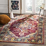 Cheap Safavieh Crystal Collection CRS508R Ruby and Navy Distressed Medallion Area Rug (5′ x 8′)