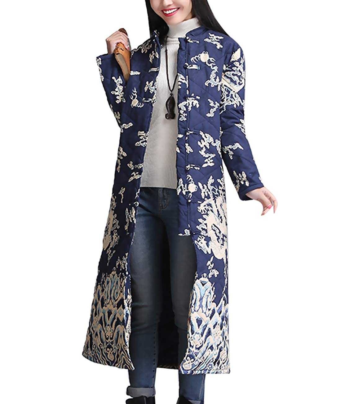 Women's Traditional Chinese Qipao Long Navy Quilted Jacket