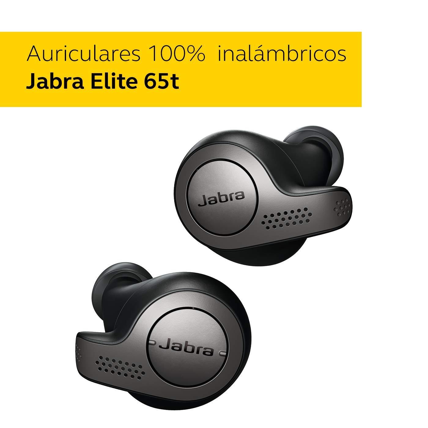 Jabra Elite 65t - Auriculares inalámbricos (Bluetooth 5.0, True Wireless) con Alexa integrada, Negro y Titanio