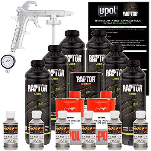 U-Pol Raptor Pewter Metallic Urethane Spray-On Truck Bed Liner Kit w/Free Spray Gun, 6 Liters