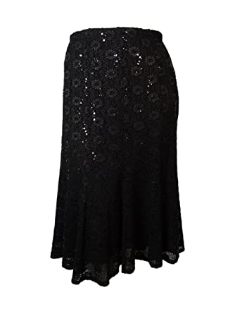 4918ce4fa Onyx Nite Women's Sequin Lace Trumpet Skirt (XS, Black) at Amazon Women's  Clothing store: