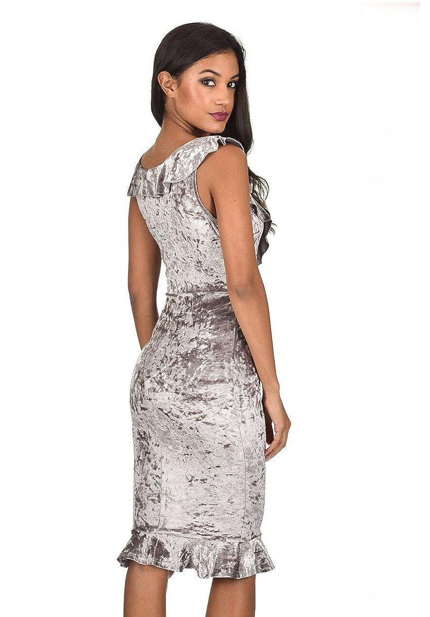 AX Paris Women s Velvet Bodycon Dress with Frill Detail at Amazon Women s  Clothing store  3f8e8191f