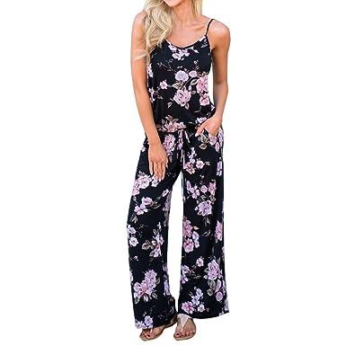 d0e8dd8d74ac Fashion Jumpsuits Women Floral Printe Strappy Sleeveless Bandage Casual Ladies  Playsuit Pants (L