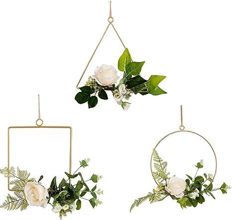 Floral Metal Hoop Wreath Frame Geometric Frame Wall Art Macrame Hoops Artificial Flower Garland Wire Hanging Hoop Rings for DIY Flower Arrangement Crafts Dreamcatcher Rings and Macrame Hoops 4pcs