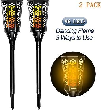 CINOTON antorchas LED solares de jardín 96 LED Parpadeo Lámpara de baile para al aire libre patio,fiesta,paisaje.Impermeable (2 luces (NUEVO)): Amazon.es: Iluminación