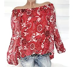 Mujer blusa tops Otoño talla grande suave suelto ropa de moda urbano,Sonnena Camisa con estampado floral hombros descubiertos Suelta blusa casual traje de ...