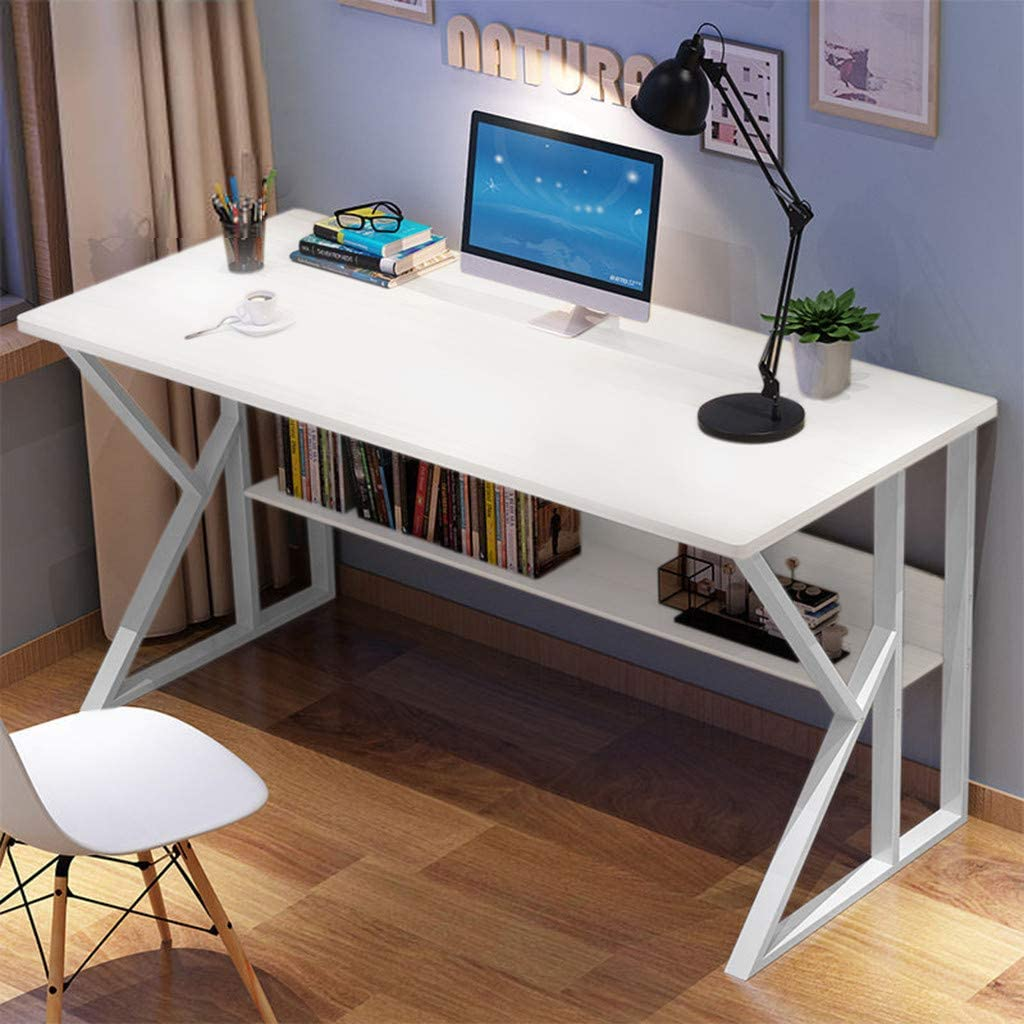 Desktop Home Computer Desk - Thickened MDF Home Office Study Shelves Workstation Desk Laptop Tables, Modern Minimalist Desk Student Writing Desk (White)