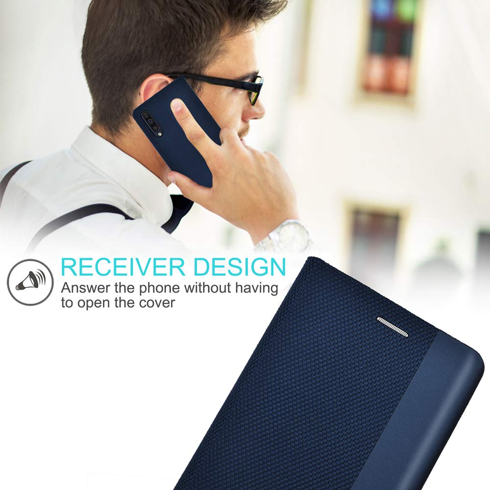 Airkuco Schutzh/ülle f/ür Samsung Galaxy A50 Leder H/ülle Flip Case Handyh/ülle Blau