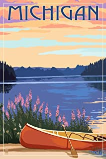 product image for Michigan - Canoe and Lake (36x54 Giclee Gallery Print, Wall Decor Travel Poster)