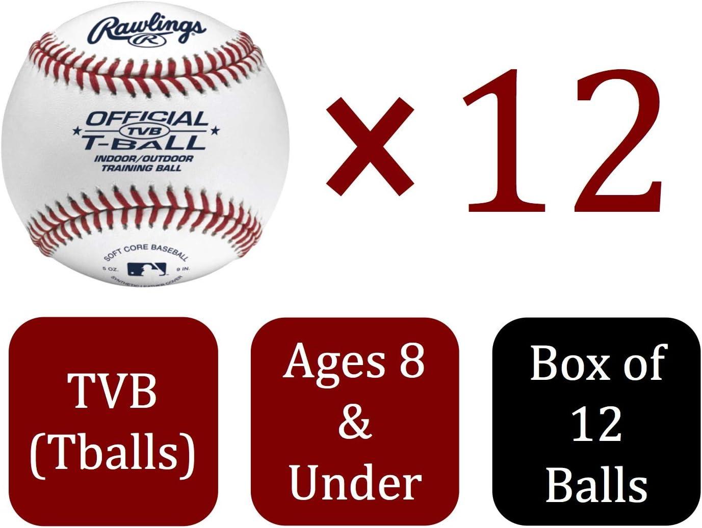 One Dozen Brand New Ages 6 /& Under TVB Rawlings Youth T-ball Baseballs