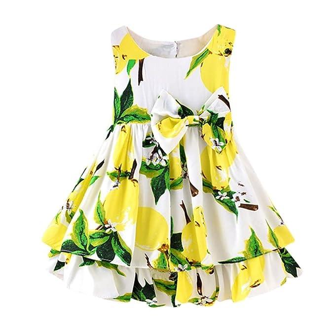 Beikoard Niña Vestido Liquidación, Faldas de niñas Niños Lemon Cartoon Print Bowknot Vestido de Princesa