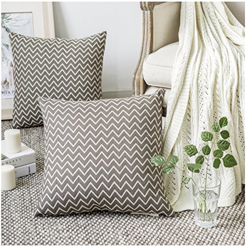 GIGIZAZA Elephant Black Accent Chevron Geometric Cotton Throw Pillows Covers 2 Packs Decorative Cushion Gray Sham Covers for Sofa Bed 18 x 18 inch