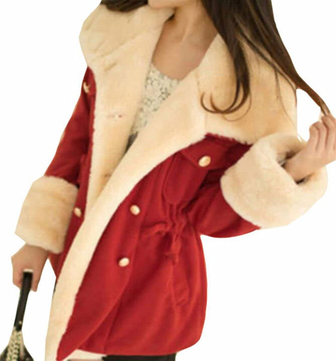 FLCH+YIGE Women's Casual Winter Thicken Plus Size Sherpa Shearling Coat Jacket