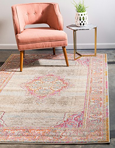 Medici Collection - Unique Loom Medici Collection Casual Medallion Light Blue Area Rug (5' x 8')