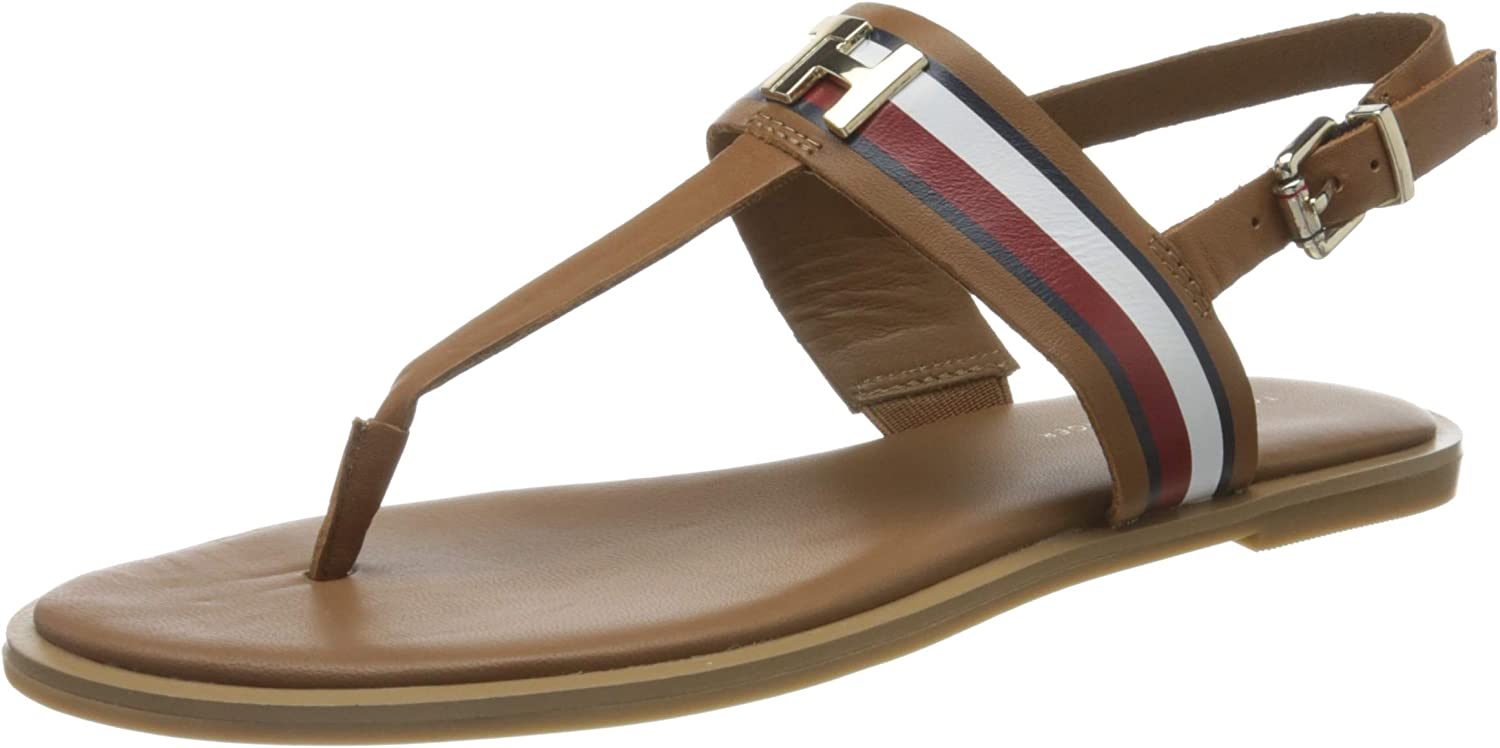 Tommy Hilfiger Corporate Leather Flat Sandal, Sandalias con Punta Abierta para Mujer