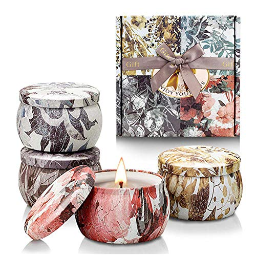 DokFin Scented Candles Gift Set, 4 Pcs Natural Soy Wax Portable Travel Candle in Tins Set for Women, Freesia, Lavender, Rosemary, French Vanilla for Stress Relief and Aromatherapy (4 X 4.4 Oz)