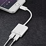 2 in 1 Lightning Adapter for iPhone X 8/8/7/7 Plus. Phone Accessories Aux Audio Headphone and Charge Cable Splitter.Dual Lightning Adapter Compatible for iOS 10.33/11or Later