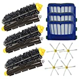 ANBOO Accessory Replacement Kit of Bristle Brushes & Flexible Beater Brushes & 6-Armed Side Brushes & Aero Vac Filters for iRobot Roomba 600 Series 614 620 630 650 660 680 690 Vacuum Cleaner Parts