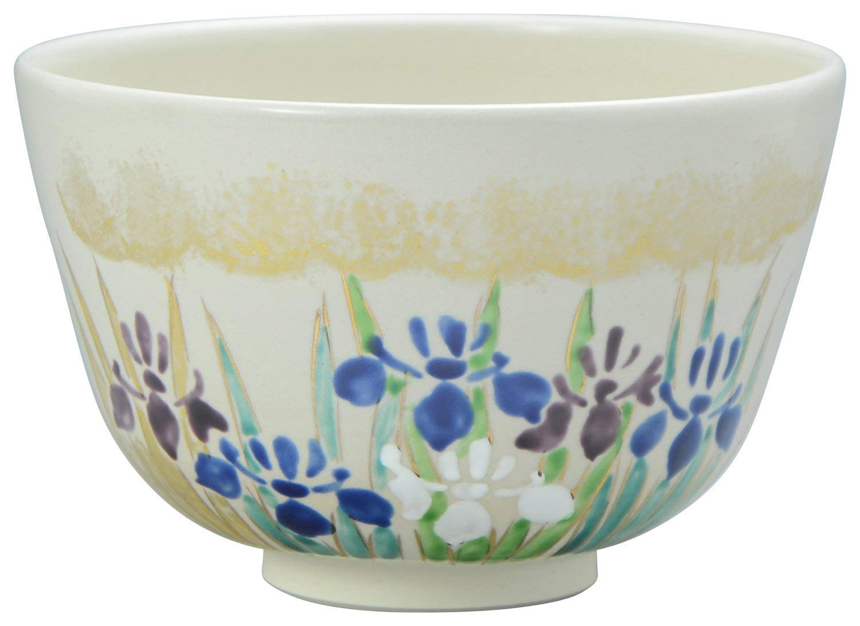 KIYOMIZU Ware Matcha Bowl KINSAI-Gold glaze Ayame