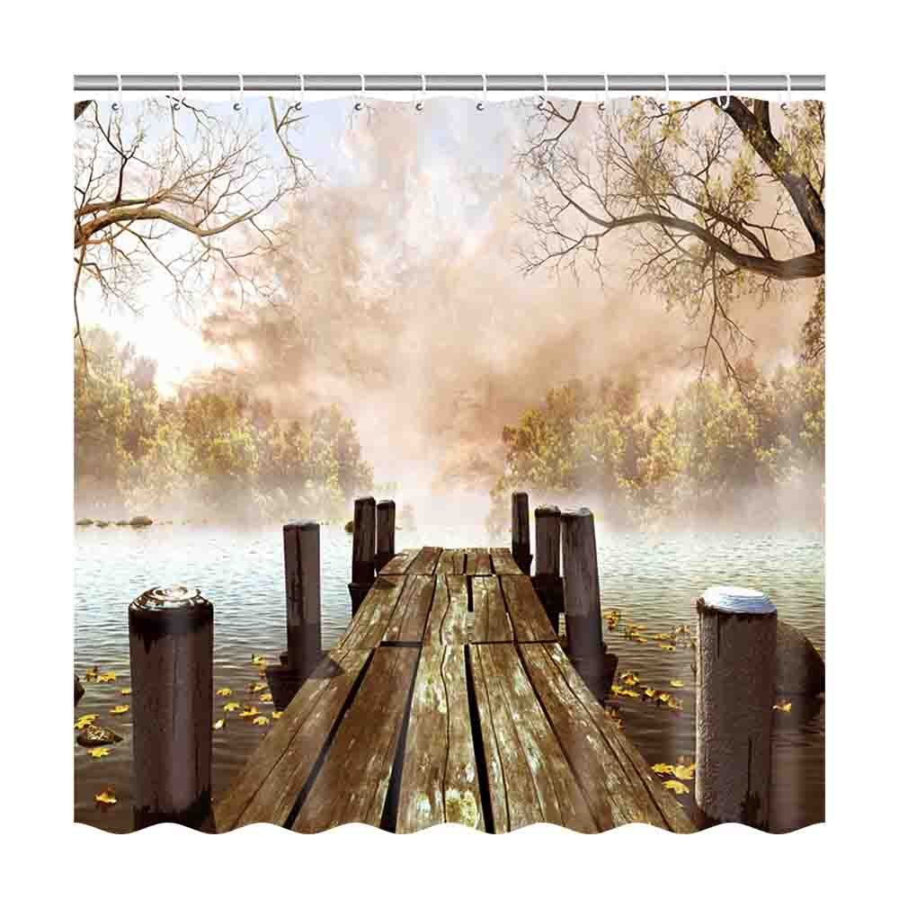 General Nature Country Fall Wooden Bridge Seasons Lake House Customize Waterproof Polyester Fabric Bathroom Shower Curtain 7272 Inch