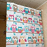 Owl Shower Curtain Fashion Design High qulity 71x71 OWL pattern Shower Curtain + set of 12 unbreakable shower curtain hooks by FashionBoutique