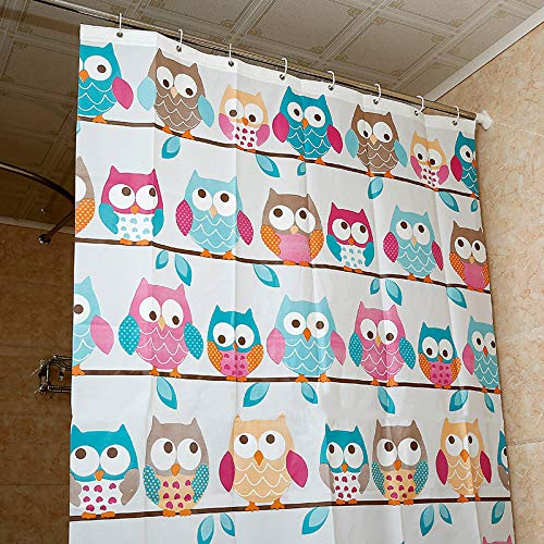 Fashion Design High qulity 71x71 OWL pattern Shower Curtain + set of 12 unbreakable shower curtain hooks by FashionBoutique (Accessories Bath Owl)