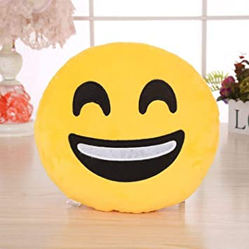 Jassi Toy Smiley Thick Plush Pillow Round Cushion Stuffed for Kids Birthday Gift
