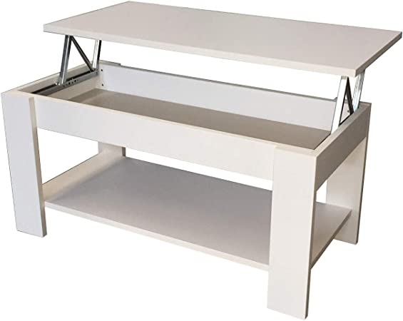 Mesa Centro Elevable Blanca: Amazon.es: Hogar