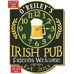 Redeye Laserworks Irish Pub Wall Clock - Personalized