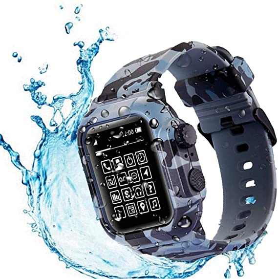 Compatible Apple Watch Series 6 44mm Waterproof Case , Tomcrazy IP68 Full Sealed Shockproof Cover for iWatch 5 /4/SE with Watch Band (Camouflage)