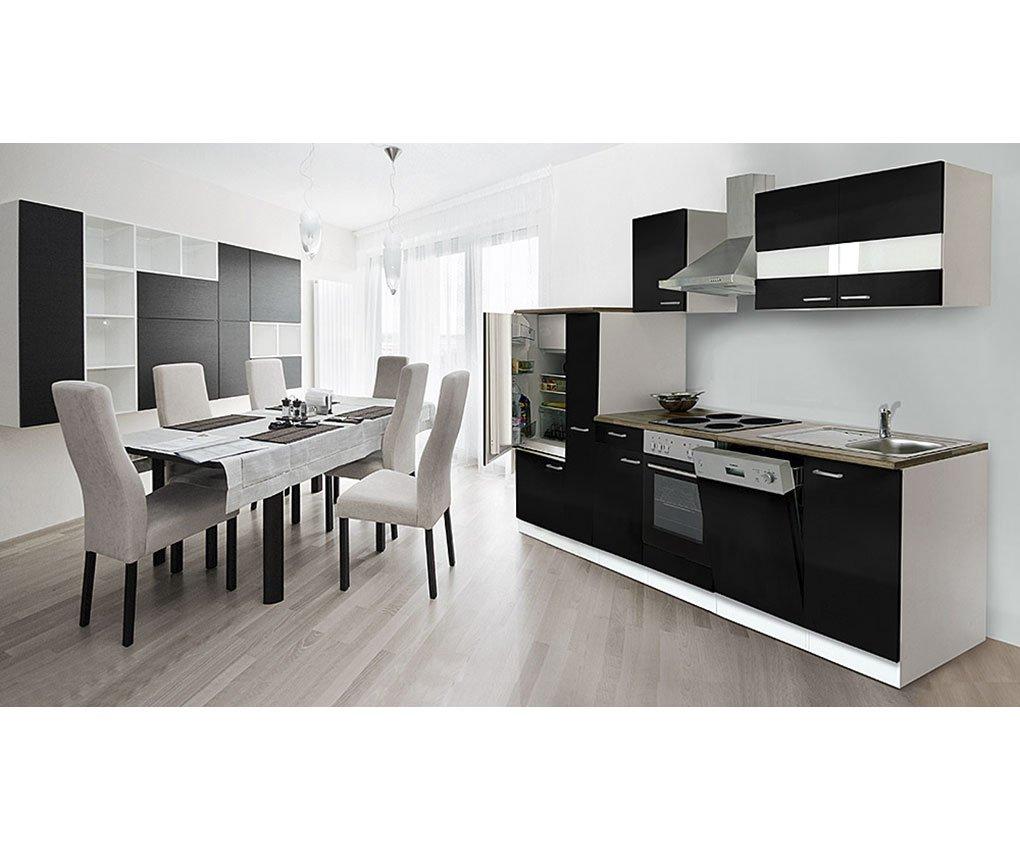 respekta Cocina vacíos de Bloque 310 cm Botiquín de Color Blanco Negro frentes encimera de imitación Nogal: Amazon.es: Juguetes y juegos