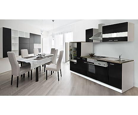respekta Cocina vacíos de Bloque 310 cm Botiquín de Color Blanco Negro frentes encimera de imitación