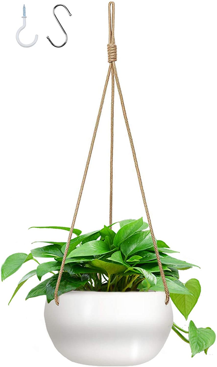 GROWNEER 7 Inches Ceramic Hanging Planter with 2 Hooks, White Porcelain Wall Hanging Plant Holder Flower Pot with Nylon Rope for Home Decoration, Gift, Garden, Indoor Outdoor Use