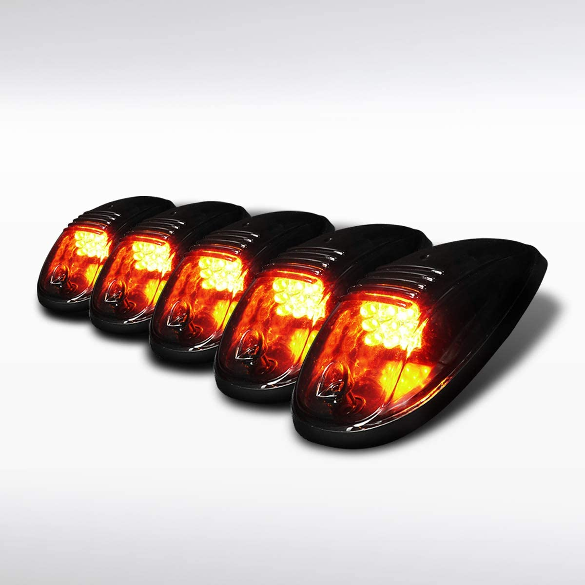 Autozensation For [5pc] SUV Truck Jeep Van Smoke LED Cab Roof Fog Marker Lights w/Switch Wire